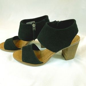 NEW - TOMS Black Suede Majorca Cutout Sandals